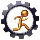Gear wheel man character running inside business hard icon. Gear wheel man character running inside gearwheel business hard work stylized golden human cartoon Royalty Free Stock Images