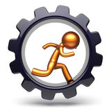 Gear wheel man character running inside gear wheel business Stock Image