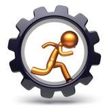 Gear wheel man character running inside gear wheel business Stock Image