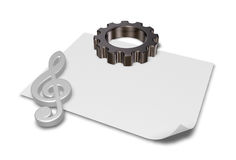 Gear wheel and metal clef Stock Image