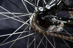Gear on wheel of modern city bicycle Royalty Free Stock Photo