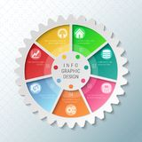 Gear wheel pie chart with 7 spokes. Flowchart with options for presentations, advertising, process steps, websites stock illustration