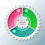 Gear wheel pie chart with 3 spokes. Flowchart with options for presentations, advertising, process steps, websites stock illustration