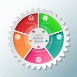 Gear wheel pie chart with 5 spokes. Flowchart with options for presentations, advertising, process steps, websites stock illustration