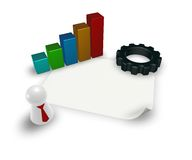 Business graph and gear wheel Royalty Free Stock Photo