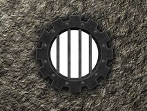 Gear wheel prison window Royalty Free Stock Images