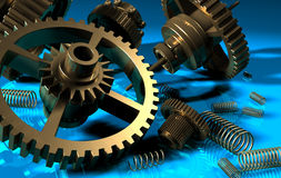 Gear wheel and spring. Gears and springs old mechanism on blue background Stock Photos