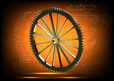 Gear wheel on a yellow Stock Images
