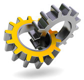 Gear wheels. 3d illustration of two gear wheels over white background Royalty Free Stock Images