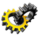 Gear wheels. 3d illustration of two gear wheels isolated over white background Royalty Free Stock Photos