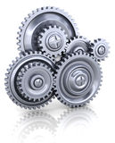 Gear wheels. 3d illustration of gear wheels system over white background Stock Images