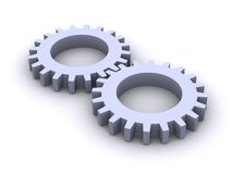 Gear Wheels. 3d isolated gear wheels over white Stock Photos