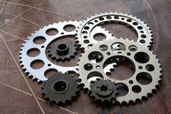 Gear-wheels. A composition of motorcycle gear-wheels Stock Photography