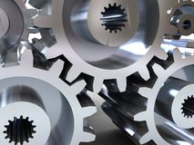 Gear wheels. Abstract 3d illustration, background, of gear wheels Royalty Free Stock Photography