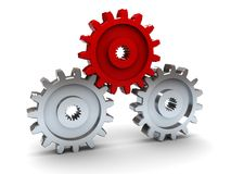 Gear wheels. 3d illustration of three gear wheels, leader concept Royalty Free Stock Photos