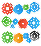 Gear wheels. Set of colorful gear wheels isolated on white Royalty Free Stock Photography