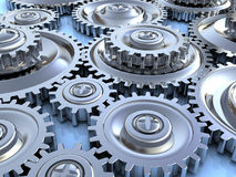 Gear wheels background. Abstract 3d illustration of steel gear wheels background Stock Photo