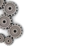 Gear wheels, background. 3d illustration of background with gear wheels on left side Stock Image