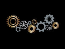 Gear wheels on black background Royalty Free Stock Photo