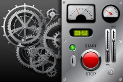 Gear wheels in black and white and metallic dashboard panel Stock Photo
