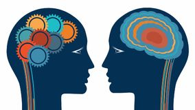 Gear wheels and a brain, rational and creative thinking heads of two people.  stock video