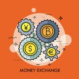 Gear wheels with coins of different currencies in center. Money, international financial market and exchange rates. Concept. Vector illustration for banner Stock Photography