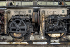 Gear wheels in colonial sugar factory in Gondang Baru, Java, Indonesia Royalty Free Stock Images