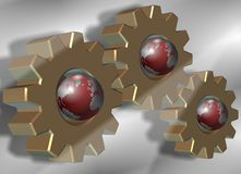 Gear wheels and earth Royalty Free Stock Photo