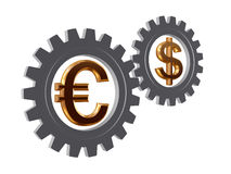 Gear-wheels with euro and dollar Stock Images