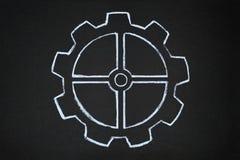 Gear wheels hand drawn, chalk illustration, blackboard Royalty Free Stock Photography