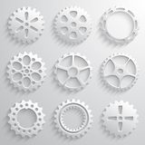 Gear wheels icon set. Nine 3d gears on a light. Gray background. Vector illustration Stock Images