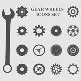 Gear wheels icons set Royalty Free Stock Images