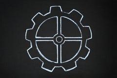 Gear wheels illustration on blackboard Royalty Free Stock Image