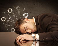 Gear wheels jumping from depressed head Royalty Free Stock Photo
