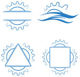 Gear wheels logo set. Illustrated isolated gear wheels logo set royalty free illustration