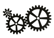Gear wheels from metal. Gear wheels from metal isolated on white background. Highly detail render Stock Images