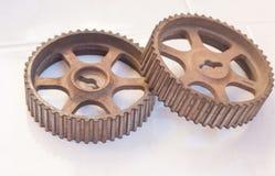 Gear wheels. Metallic gear wheels from 4x4 gear box Royalty Free Stock Photography