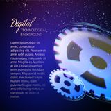 Gear-wheels over lights, rays with dark Royalty Free Stock Images