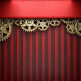 Gear wheels on red background Royalty Free Stock Photos