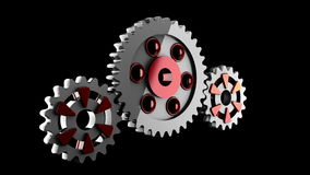 Gear wheels rotate. alpha matted Royalty Free Stock Photography