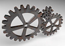 Gear wheels from rusty metal. Gear wheels from rusty metal on grey background. Highly detail render Stock Image