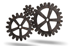 Gear wheels from rusty metal. Gear wheels from rusty metal  on white background. Highly detail render Royalty Free Stock Images