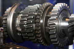 Gear wheels on shaft. Gear wheels on gearbox shaft Royalty Free Stock Image