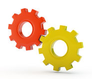 Gear wheels system on white background Stock Photos