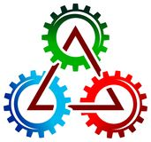 Gear wheels triangle Stock Photos