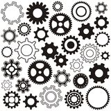 Gear wheels. Various gear wheel collection black  silhouette Royalty Free Stock Images