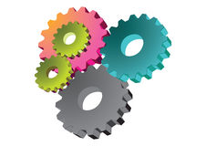 Gear wheels - vector. Illustrated colorful gear wheels in white background, vector royalty free illustration