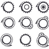 Gear wheels vector logos and graphic design elemen. An illustration of gear wheels vector  logos and graphic design elements set Stock Image