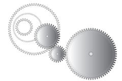 Gear wheels on white. Three metal gear wheels and gearing on white background Royalty Free Stock Photo