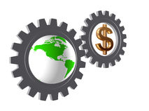 Gear-wheels with world globe and dollar. Two 3d gear-wheels with golden dollar sign and Globe Stock Photography